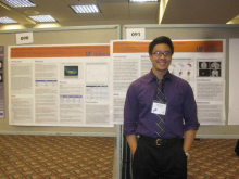 Peter Nguyen presenting his poster
